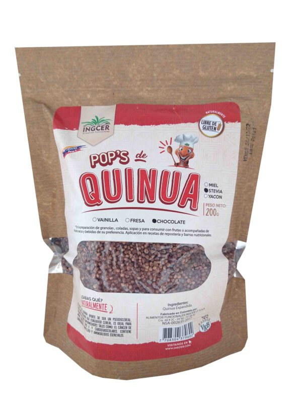 Quinua expandida, endulzada con estevia, sabor a chocolate. Especial para lonchera saludable, para hipertensos, no contiene sodio y buen alimento para diabéticos por su bajo contenido en carbohidratos, Pops Quinua Expandido chocolate.