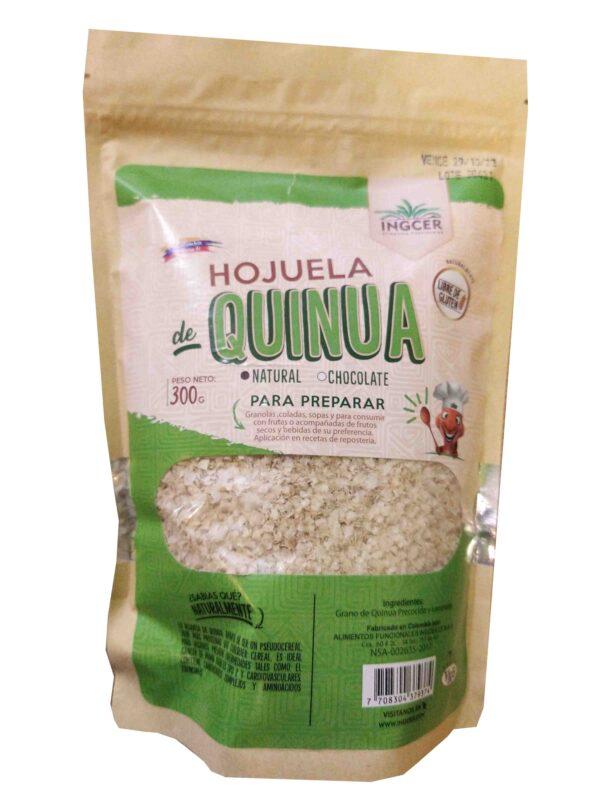 Hojuela o copos de quinua, hecha a partir del grano de quinua procesado al vapor, por lo que conservan todas las características de este superalimento, se consume en desayunos y remplaza perfectamente a la hojuela de avena, aportando más proteína y menos carbohidratos que esta última