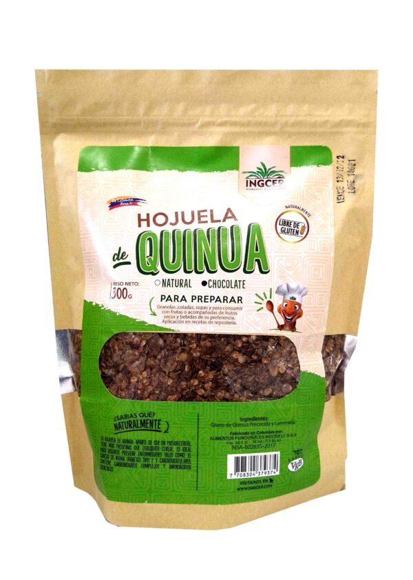 Hojuela de quinua, hecha a partir del grano de quinua procesado al vapor, por lo que conservan todas las características de este superalimento, se consume en desayunos y remplaza perfectamente a la hojuela de avena, aportando más proteína y menos carbohidratos que esta última. Con cacao y endulzada con stevia.