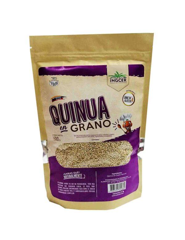 La Quinua es un alimento milenario. Es un pseudocereal (Chenopodium quinua) con alto contenido proteico (38%), tiene todos los aminoácidos esenciales, lo que lo hace uno de los vegetales más nutritivos que existen, No contiene gluten. Debe lavarse bien antes de preparar para retirar el sabor amargo característico. Lo puede preparar de igual manera que el arroz, incluso se puede mezclar con éste, prueba nuestra Semilla de quinua.