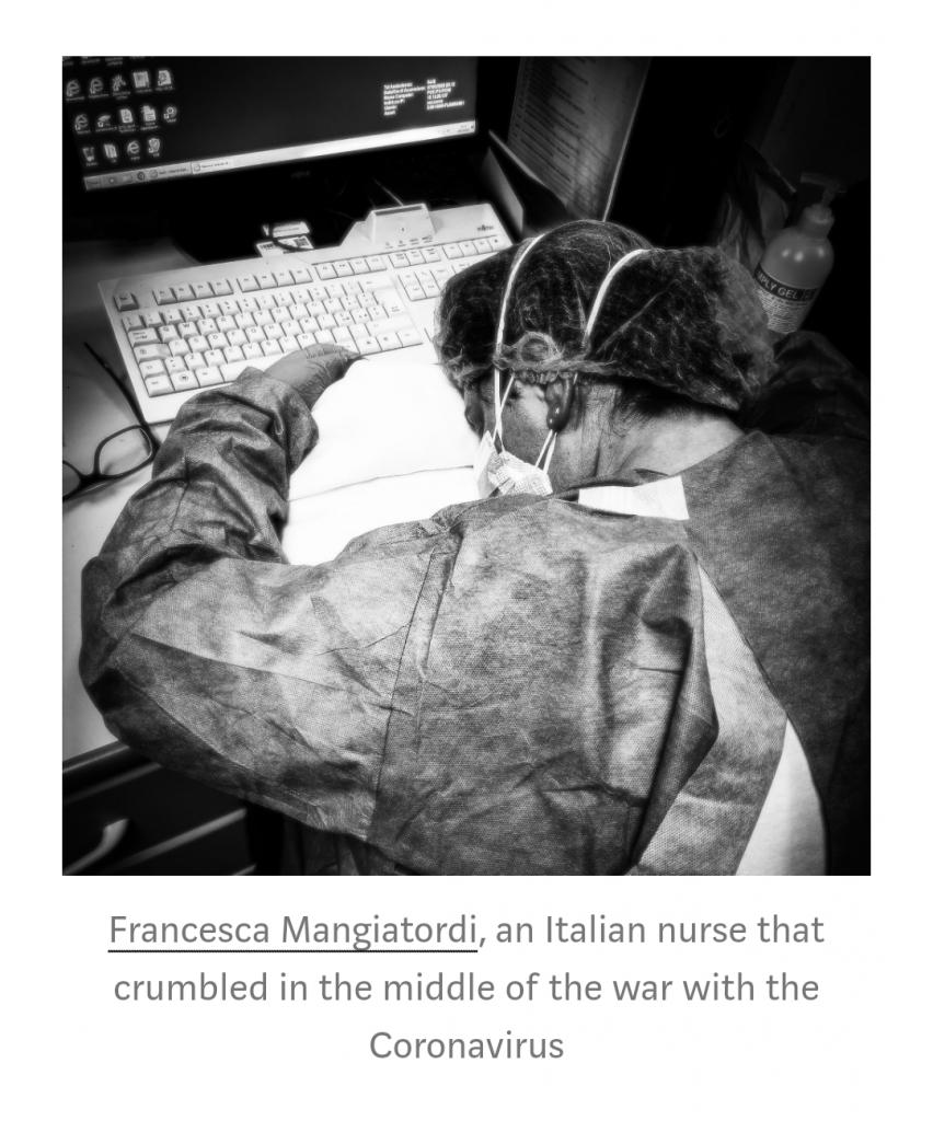 Enfermera exhausta en batalla contra el coronavirus